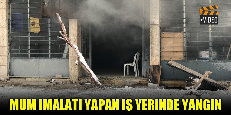 Konya'da mum imalatı yapan iş yerinde yangın