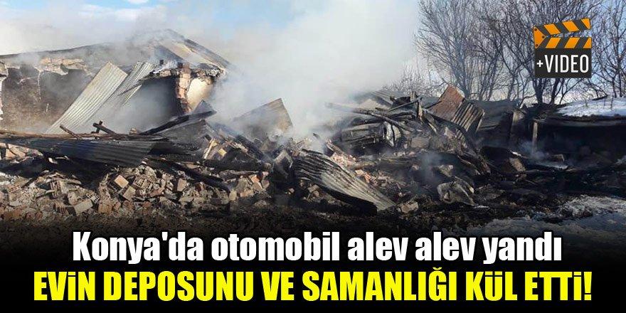 Konya'da otomobil alev alev yandı, evin deposunu ve samanlığı kül etti!
