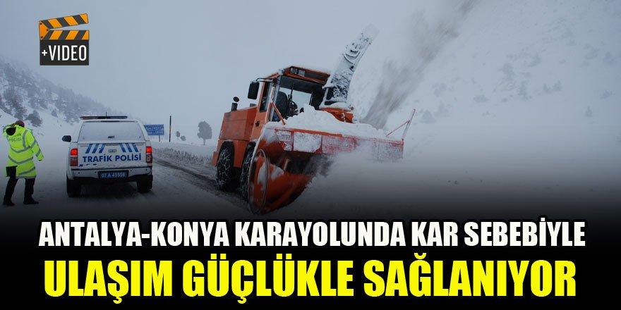 Antalya-Konya karayolunda kar sebebiyle ulaşım güçlükle sağlanıyor