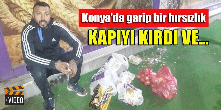 Konya'da da bir hırsız kapıyı kırıp tatlı ve bozuk para çaldı