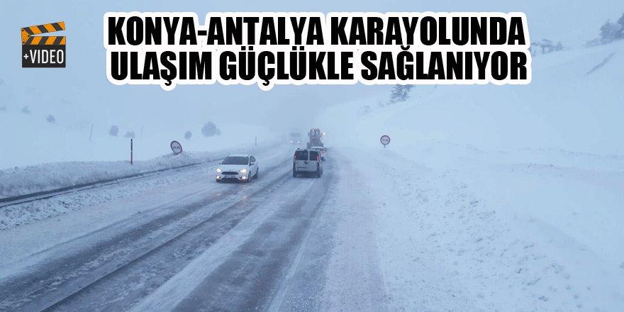 Antalya-Konya karayolunda ulaşım güçlükle sağlanıyor