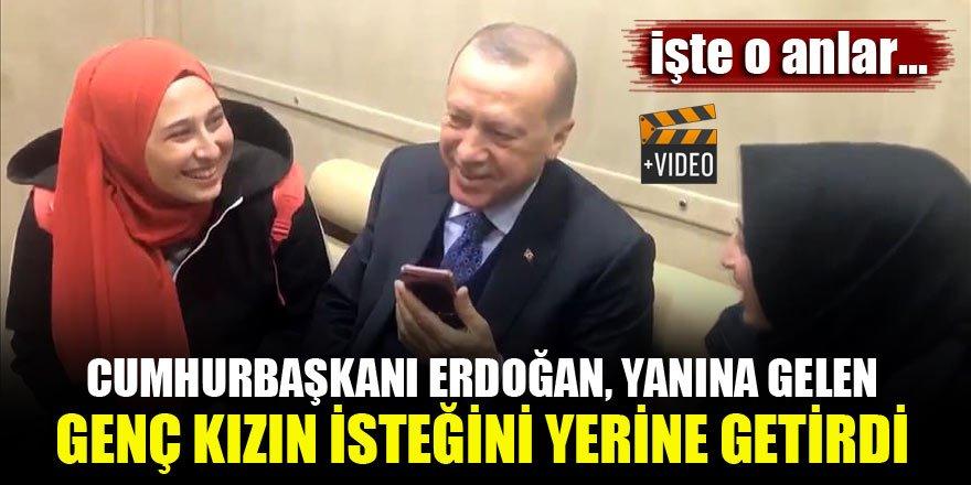 Cumhurbaşkanı Erdoğan, yanına gelen genç kızın isteğini yerine getirdi