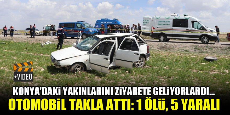 Konya'daki yakınlarını ziyarete geliyorlardı...Otomobil takla attı! 1 ölü, 5 yaralı