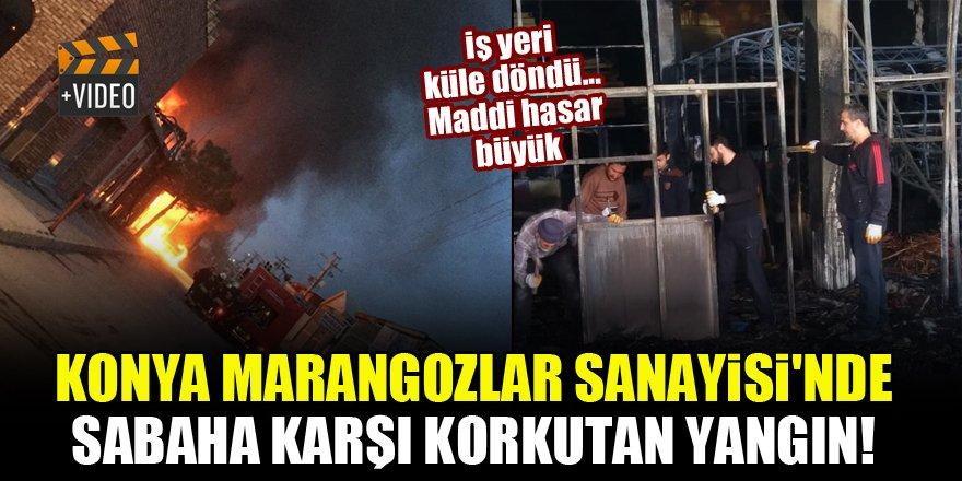 Konya Marangozlar Sanayisi'nde sabaha karşı korkutan yangın! İş yeri küle döndü...