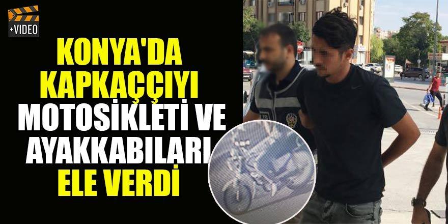 Konya'da kapkaç şüphelisini park halindeki motosikleti ele verdi