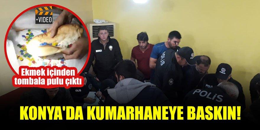Konya'da kumarhaneye baskın! Ekmek içinden tombala pulu çıktı