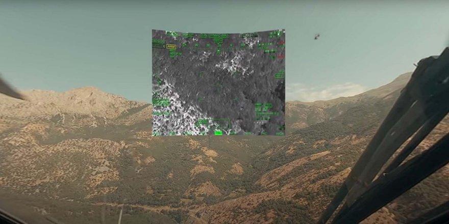Atak helikopterinin kokpitinden gerçek operasyon görüntüleri