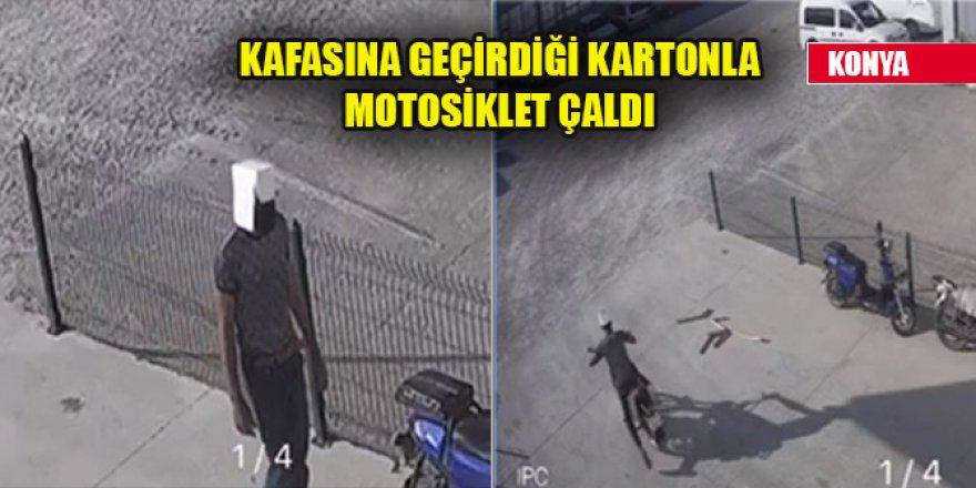Hırsız kafasına geçirdiği kartonla motosikleti böyle çaldı