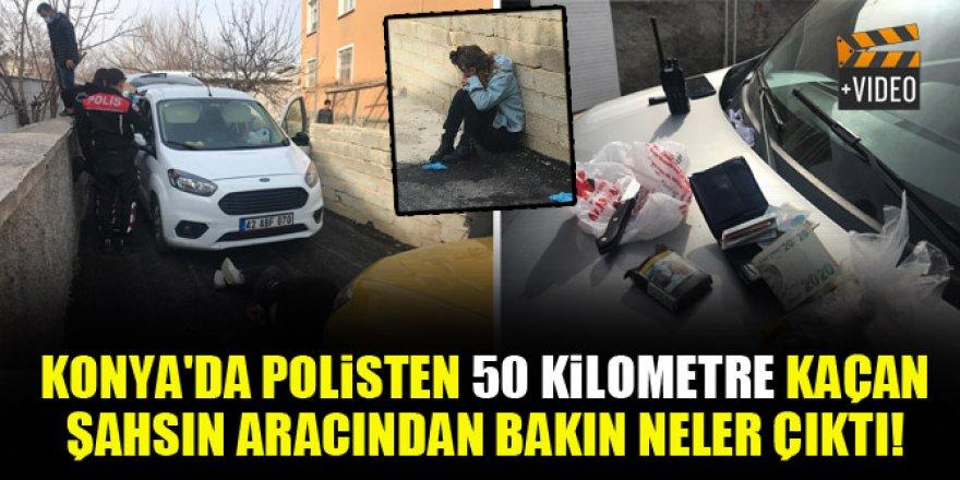 Konya'da polisten 50 kilometre kaçan şahsın aracından bakın ne çıktı!