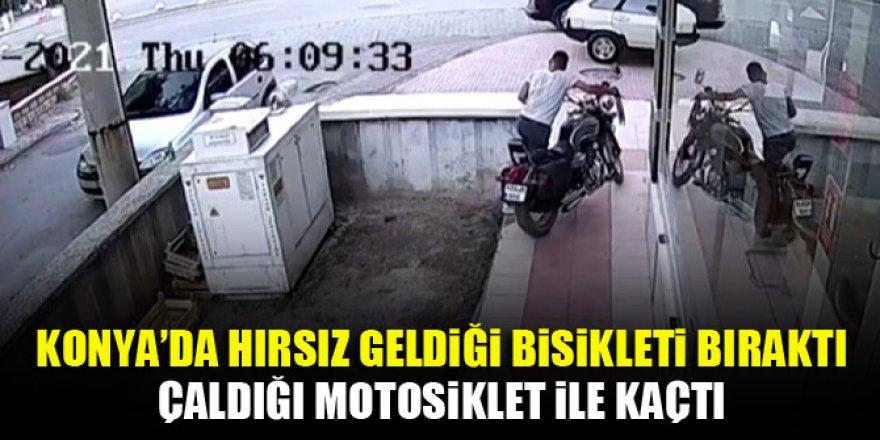 Geldiği bisikleti bıraktı çaldığı motosiklet ile kaçtı
