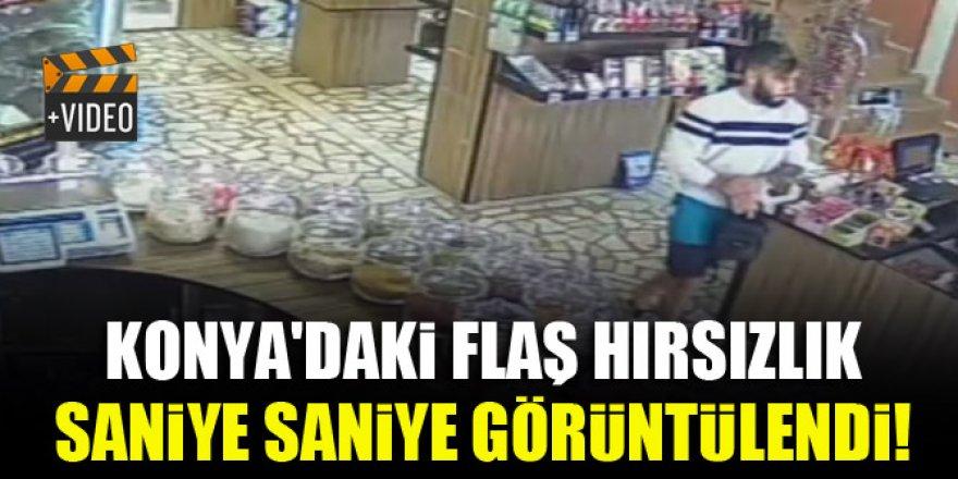 Konya'daki flaş hırsızlık saniye saniye görüntülendi!