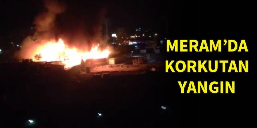 Meram'da korkutan yangın