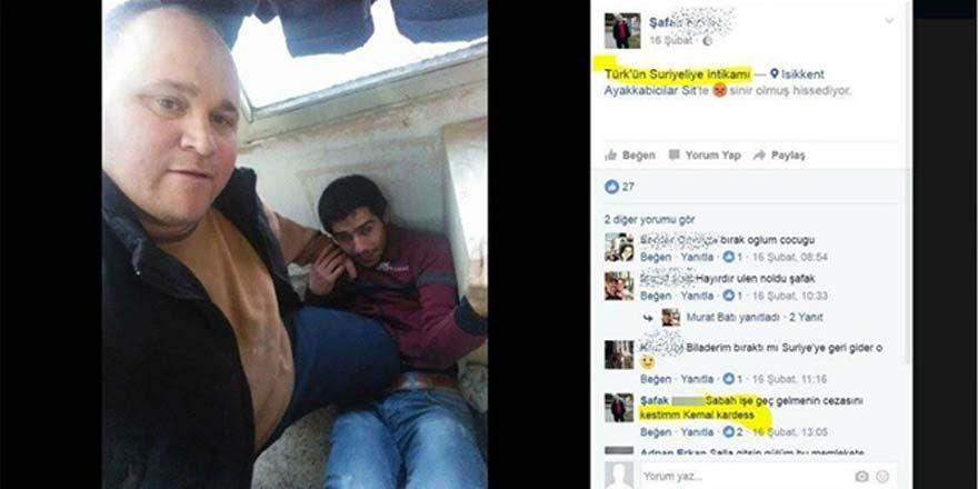Suriyeli işçisinin üzerine basarak fotoğraf çekindi!