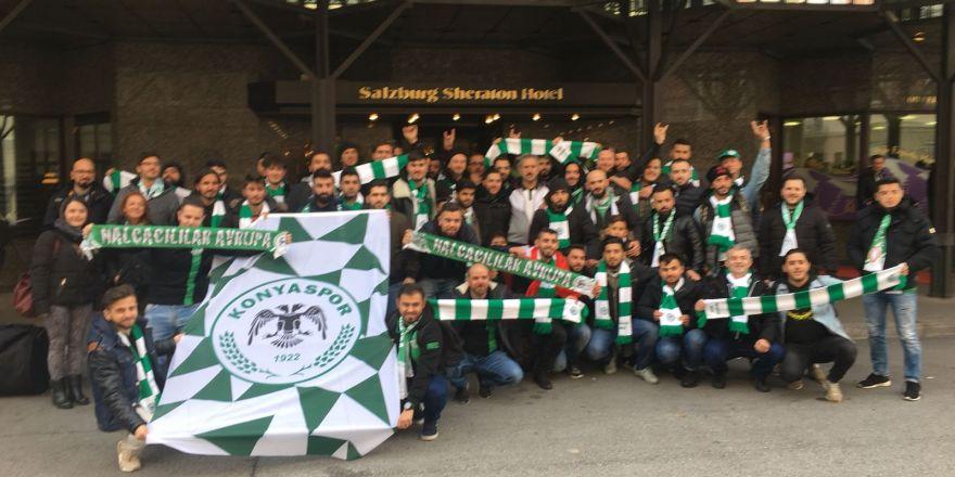 Konyaspor taraftarı Salzburg sokaklarını inletti