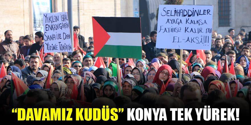 "Konya ""Davamız Kudüs"" mitinginde tek yürek oldu"