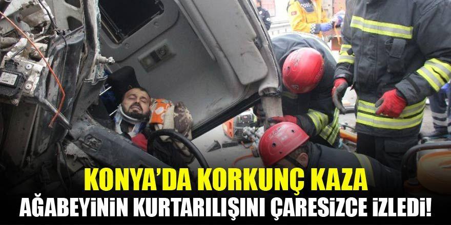 Konya'da korkunç kaza! Ağabeyinin kurtarılışını çaresizce izledi